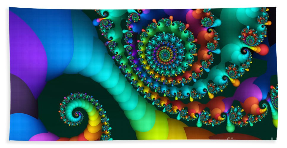 Fractal Bath Towel featuring the digital art Where Rainbows Are Made by Jutta Maria Pusl