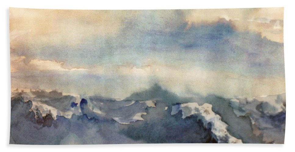 Seascape Hand Towel featuring the painting Where Sky Meets Ocean by Steve Karol