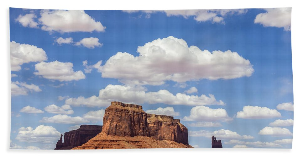 Monument Valley Hand Towel featuring the photograph Where The Earth Meets The Sky by Penny Meyers