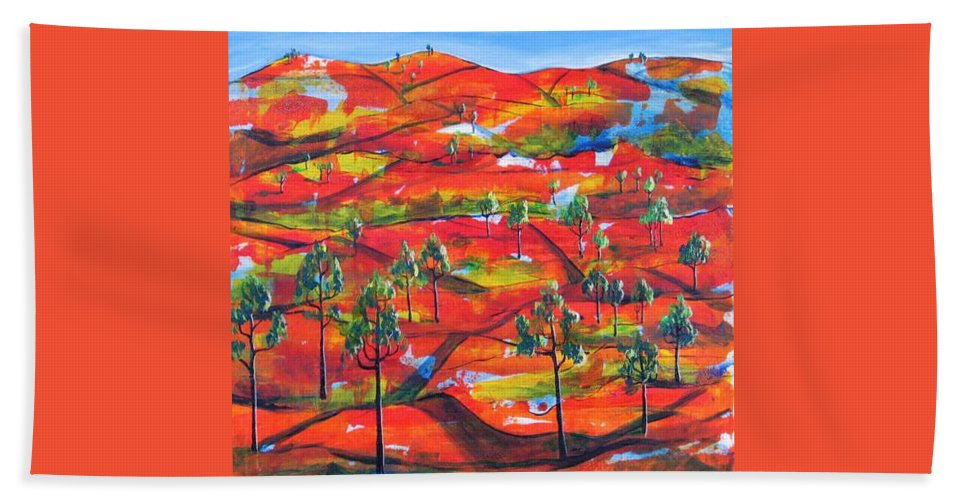 Landscape Bath Towel featuring the painting Where The Road Goes   by Rollin Kocsis