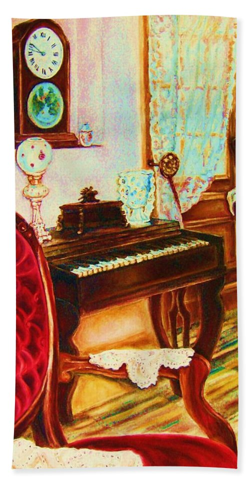 Prayer Room Hand Towel featuring the painting Where Time Stands Still by Carole Spandau
