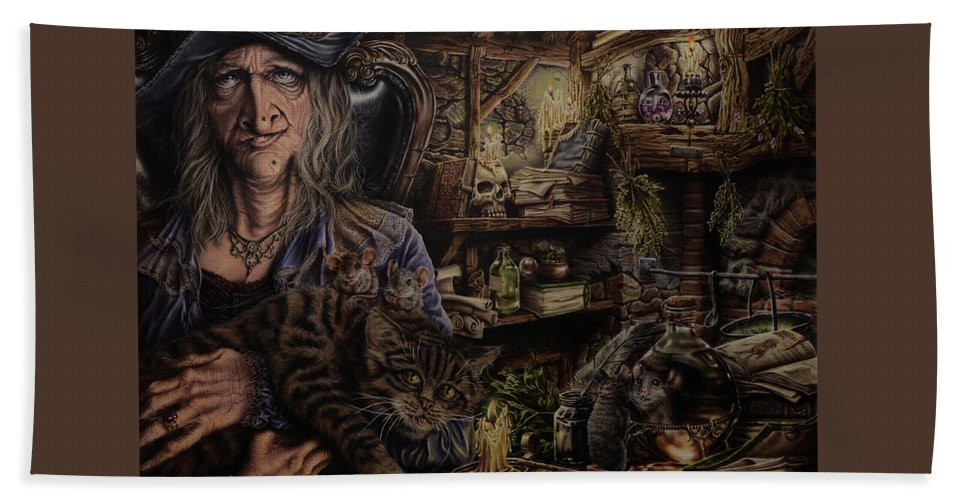 Fantasy Bath Towel featuring the painting Which witch is which by Robert Haasdijk
