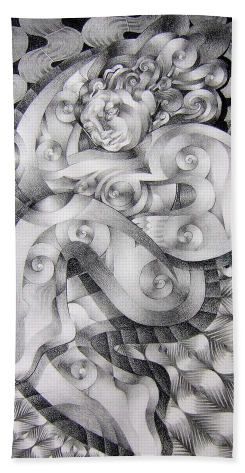 Art Bath Sheet featuring the drawing Whim by Myron Belfast