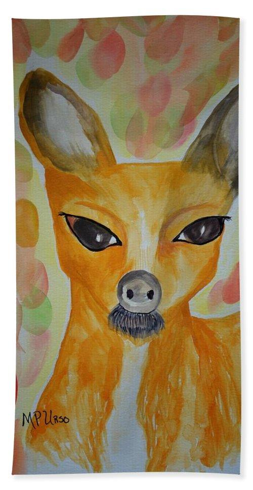 Whimsical Autumn Doe Bath Sheet featuring the photograph Whimsical Autumn Doe by Maria Urso