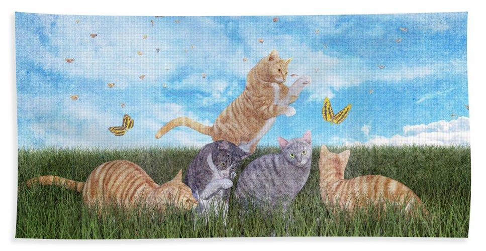 Fantasy Bath Sheet featuring the digital art Whimsical Cats by Betsy Knapp