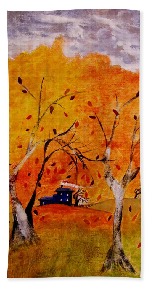 Abstract Bath Towel featuring the painting Whimsical Wind by Ruth Palmer