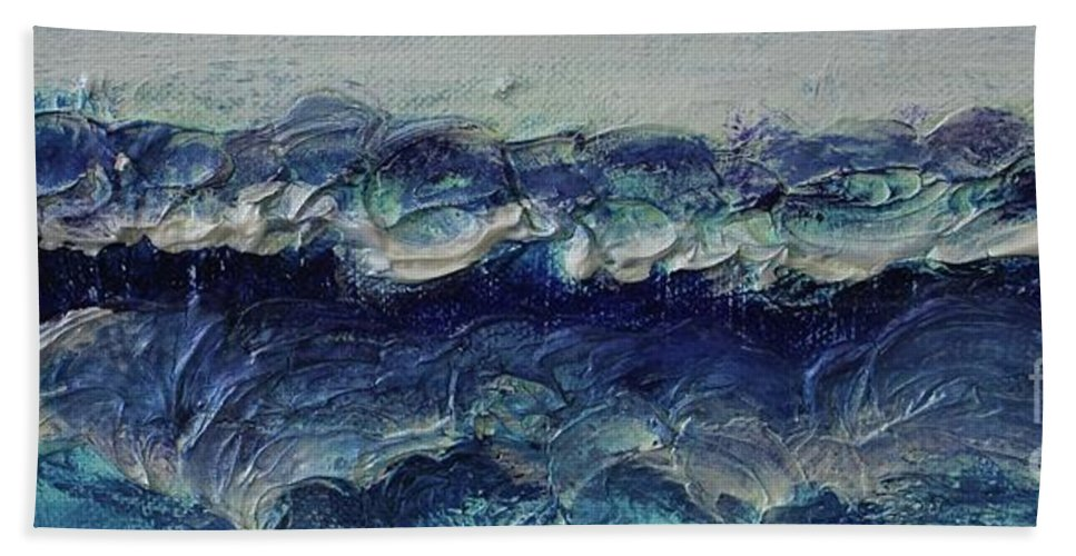Whipped Cream Bath Towel featuring the painting Whipped Cream Waves by Kim Nelson