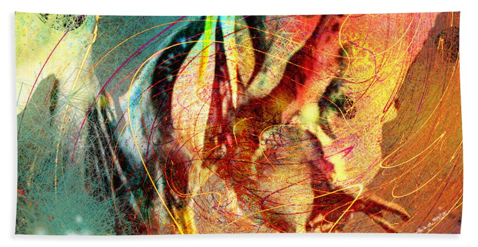 Miki Hand Towel featuring the painting Whirled In Digital Rainbow by Miki De Goodaboom