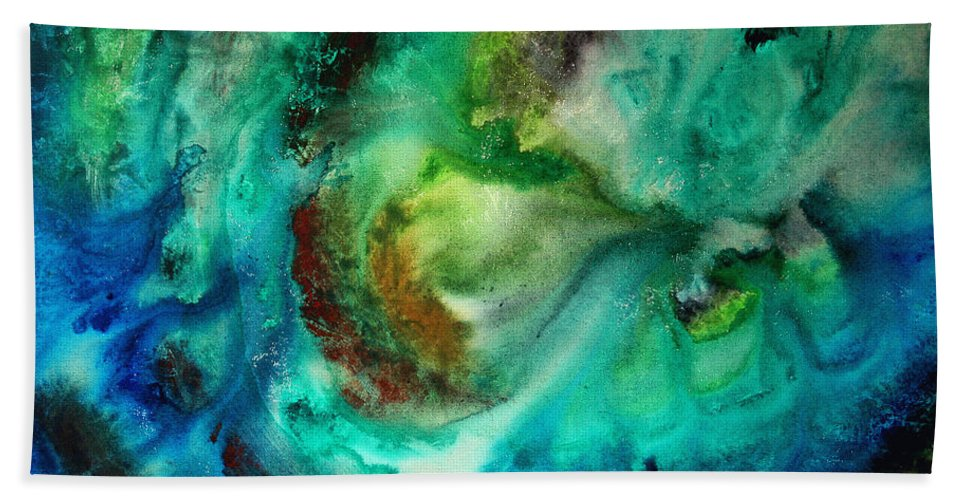 Abstract Hand Towel featuring the painting Whirlpool By Madart by Megan Duncanson