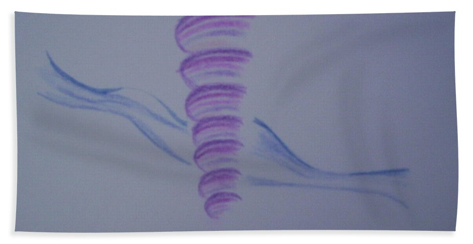 Abstract Drawing Bath Towel featuring the painting Whirly by Suzanne Udell Levinger