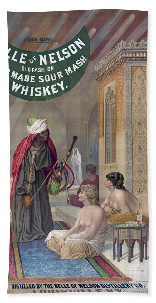 1888 Hand Towel featuring the painting Whiskey Ad by Granger
