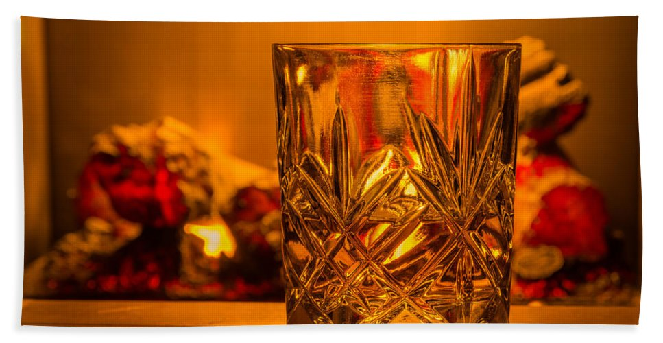 Alcohol Hand Towel featuring the photograph Whiskey In A Glass by David Head