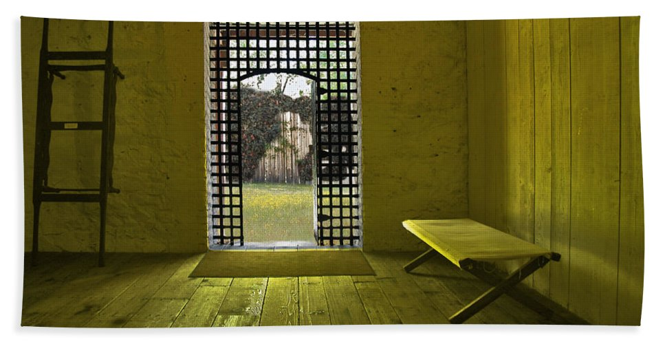 Jail Hand Towel featuring the photograph Whiskeytown Jail by Karen W Meyer