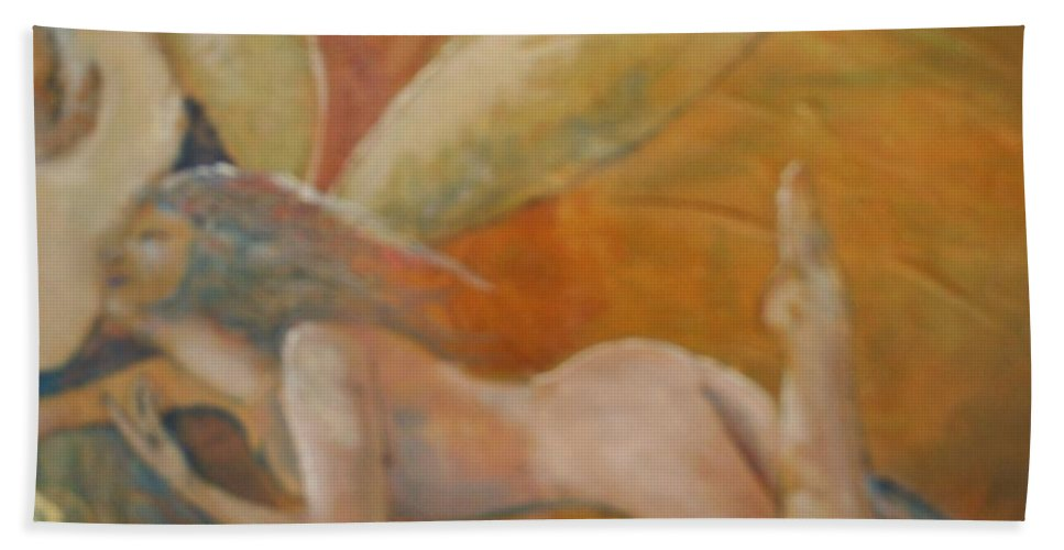 Fairy Bath Towel featuring the painting Whisper by J Bauer