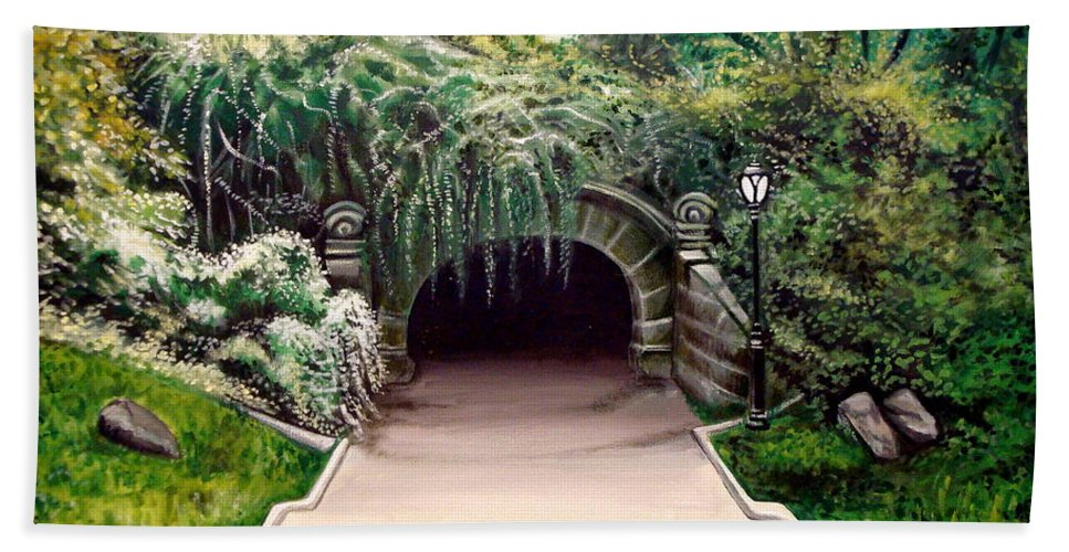 Landscape Hand Towel featuring the painting Whispering Tunnel by Elizabeth Robinette Tyndall