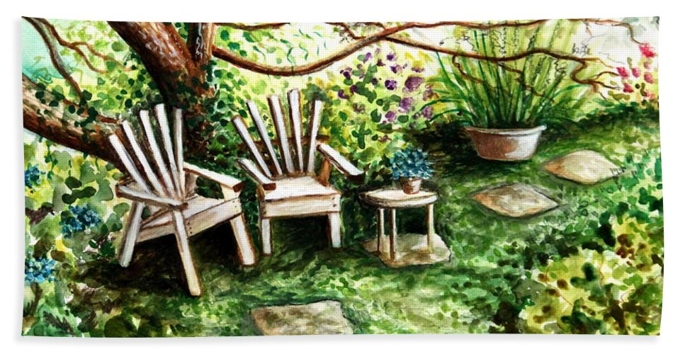 Garden Bath Sheet featuring the painting Whispering Winds by Elizabeth Robinette Tyndall
