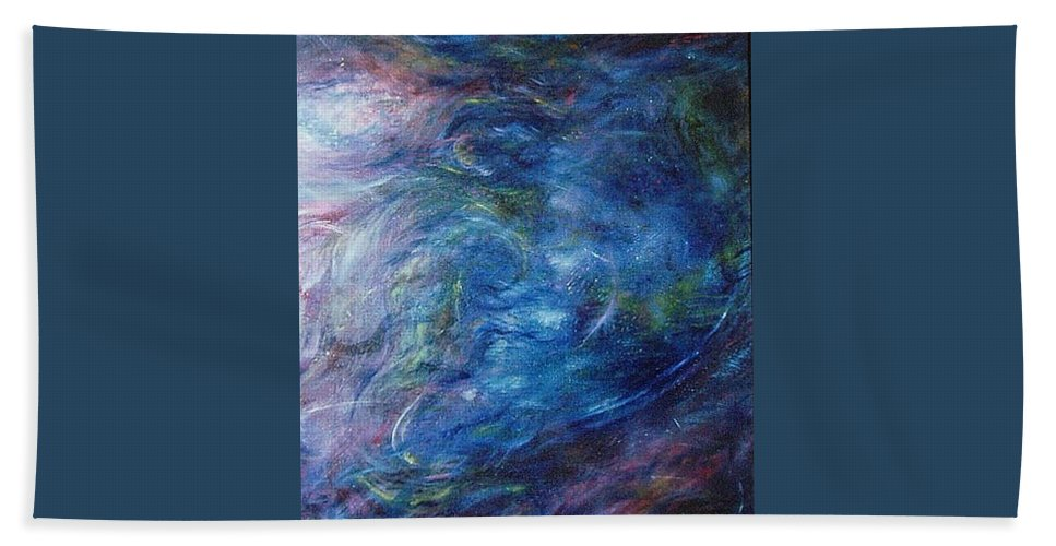 Abstract Bath Towel featuring the painting Whispers In A Sea Of Blue by Nancy Mueller