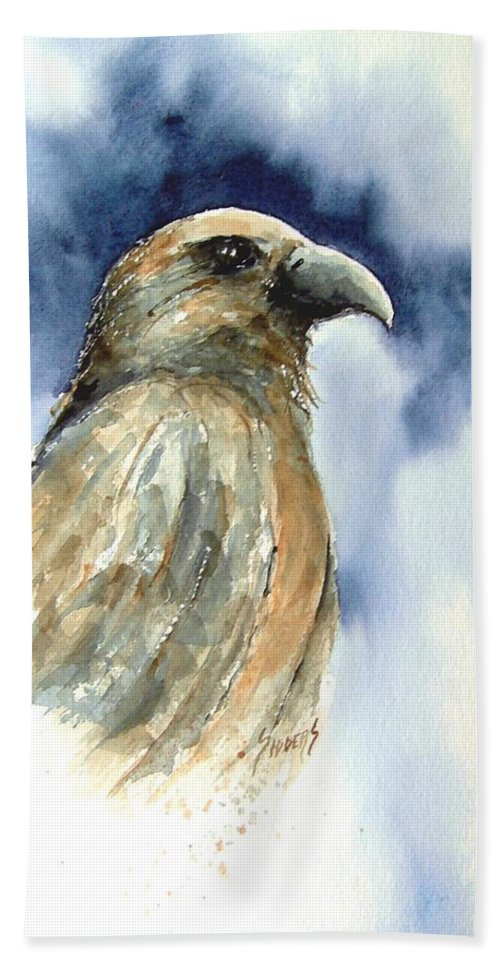 Falcon Hand Towel featuring the painting Whistler by Sam Sidders