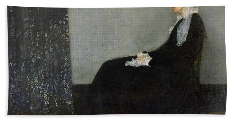Whistlers Mother Bath Towel featuring the painting Whistlers Mother by James Abbott McNeill Whistler