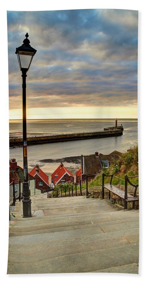 Whitby Steps Bath Sheet featuring the photograph Whitby Sun Set by Sarah Couzens