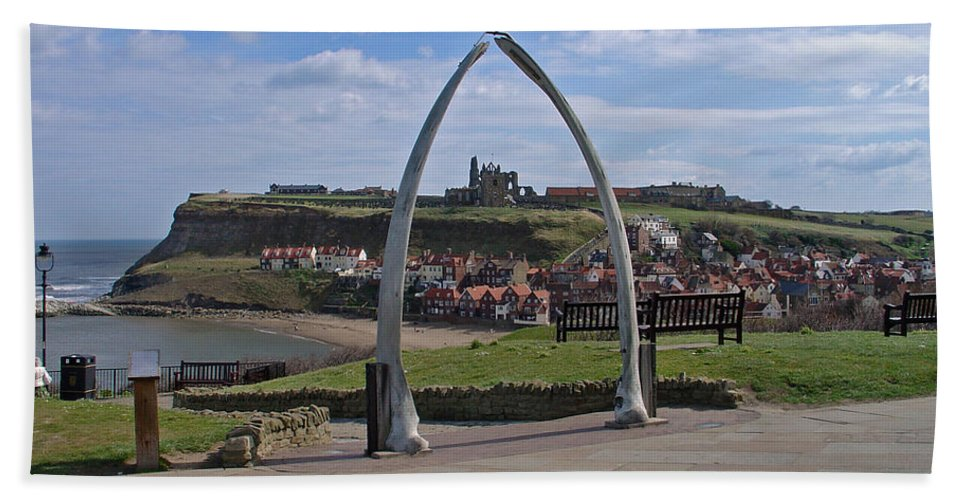 Europe Hand Towel featuring the photograph Whitby Whale Bone Arch by Rod Johnson