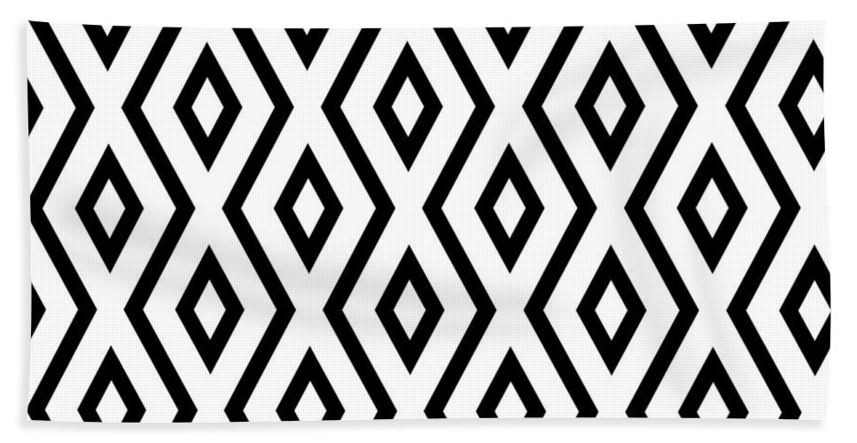 White And Black Bath Towel featuring the mixed media White and Black Pattern by Christina Rollo