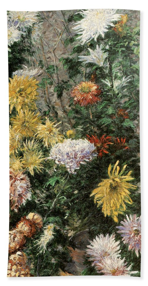 White And Yellow Chrysanthemums In The Garden At Petit Gennevilliers Bath Sheet featuring the painting White And Yellow Chrysanthemums In The Garden At Petit Gennevilliers by Gustave Caillebotte