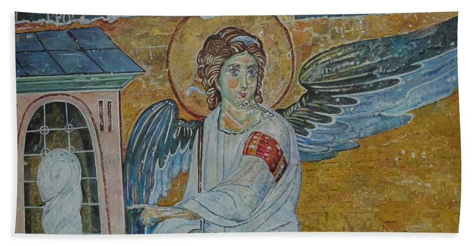 White Angel Hand Towel featuring the painting White Angel by Sinisa Saratlic