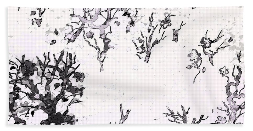 Abstract Bath Sheet featuring the digital art White As Snow by Rachel Christine Nowicki