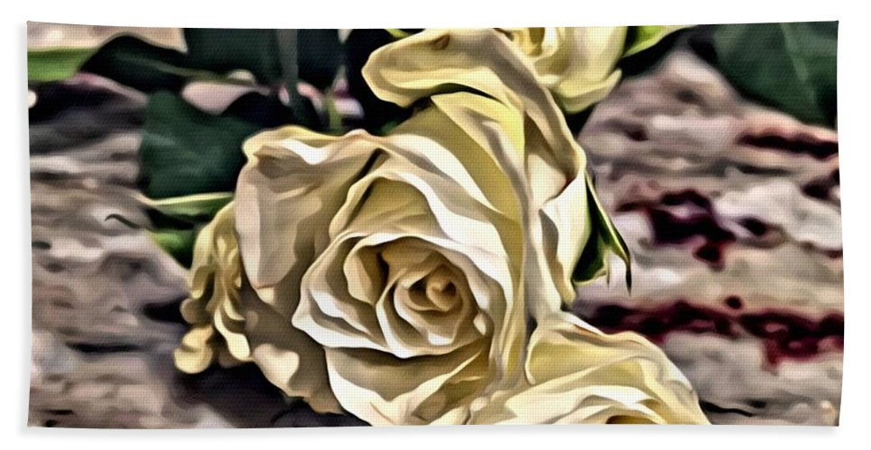 Roses Hand Towel featuring the painting White Baby Roses by Marian Palucci-Lonzetta