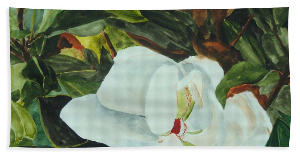 Flower Bath Towel featuring the painting White Beauty by Jean Blackmer