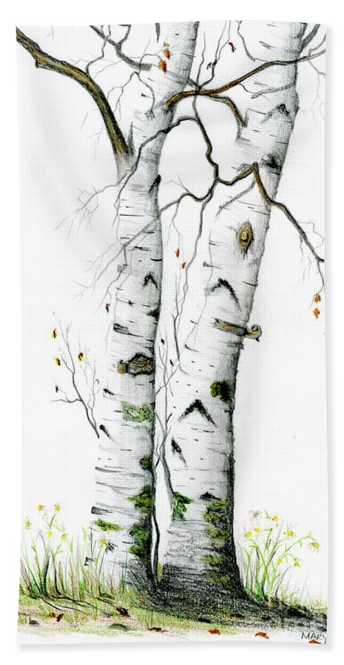 White Birch Bath Sheet featuring the painting White Birch by Mary Tuomi