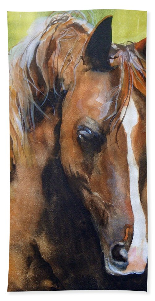 Horse Bath Towel featuring the painting White Blaze by Jean Blackmer