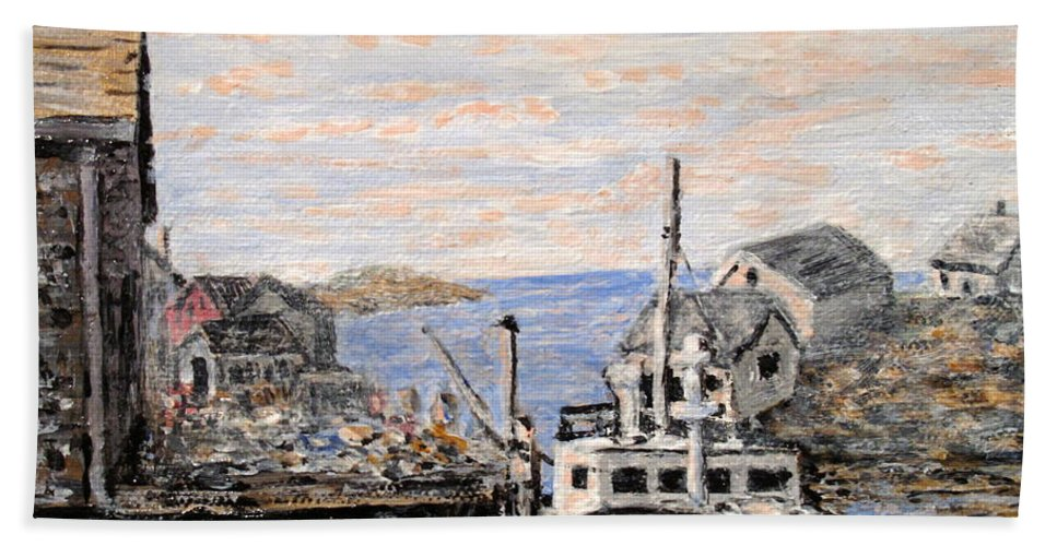 White Bath Towel featuring the painting White Boat In Peggys Cove Nova Scotia by Ian MacDonald
