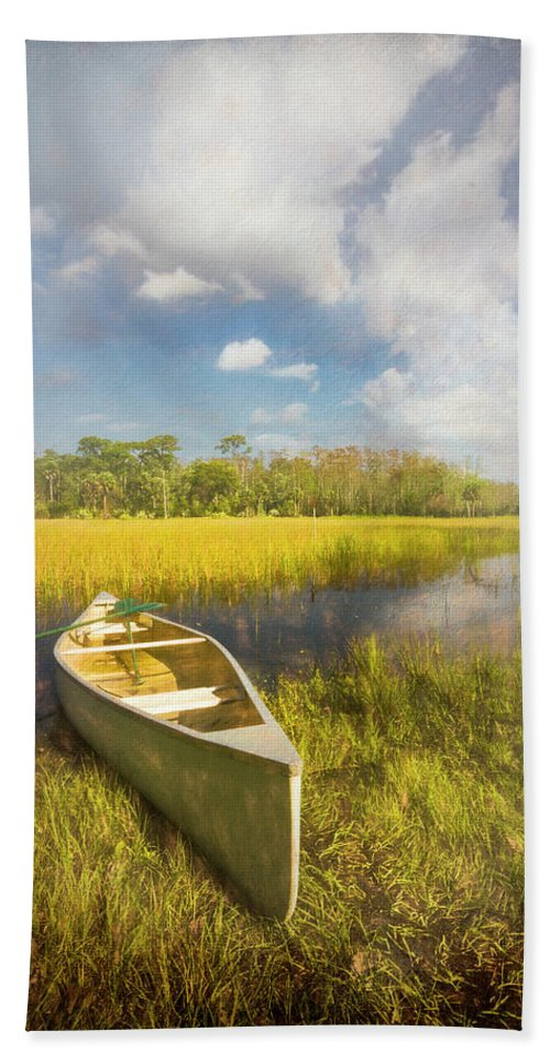 Boats Hand Towel featuring the photograph White Canoe Textured Painting by Debra and Dave Vanderlaan