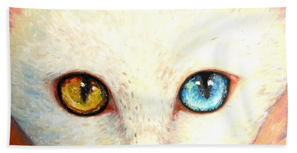 Portrait Bath Sheet featuring the painting White Cat by Shijun Munns