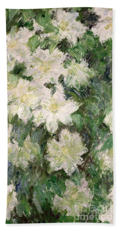 White Clematis Bath Towel featuring the painting White Clematis by Claude Monet