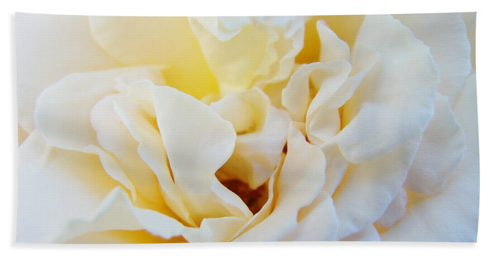 Rose Bath Towel featuring the photograph White Creamy Pastel Rose Flower Baslee Troutman by Patti Baslee