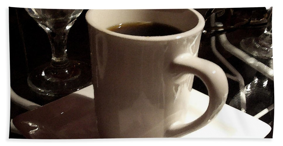White Bath Sheet featuring the photograph White Cup by Tim Nyberg