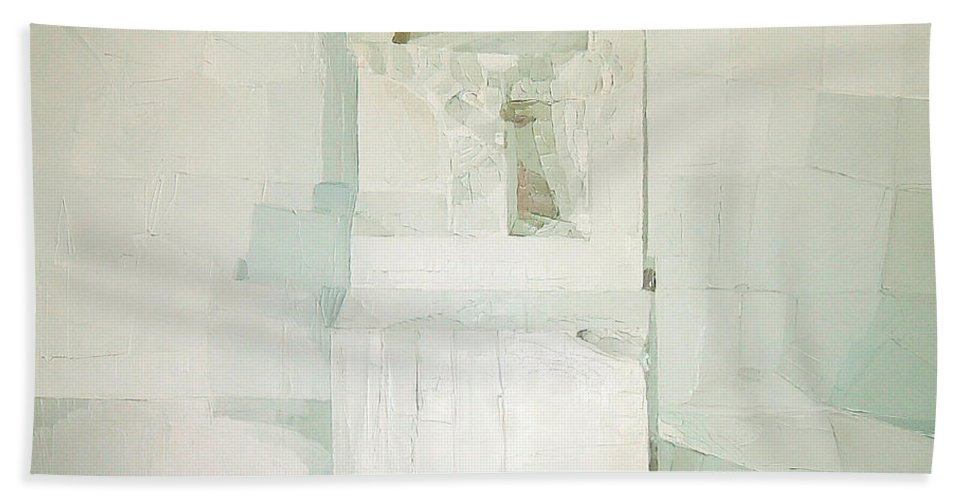 White (oil On Canvas) Cube; Geometric; Abstract; Form; Shape; Pure; Relief; 3-d; Three-dimensional; Painting; Solitude; 3 D; Three Dimensional; Abstraction; Mathematics; Damaged; Chair; Stone; Square Hand Towel featuring the painting White by Daniel Cacouault