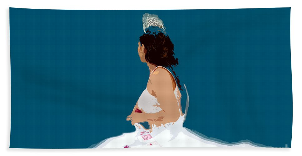Beauty Queen Hand Towel featuring the painting White Dress Blue Sky by David Lee Thompson