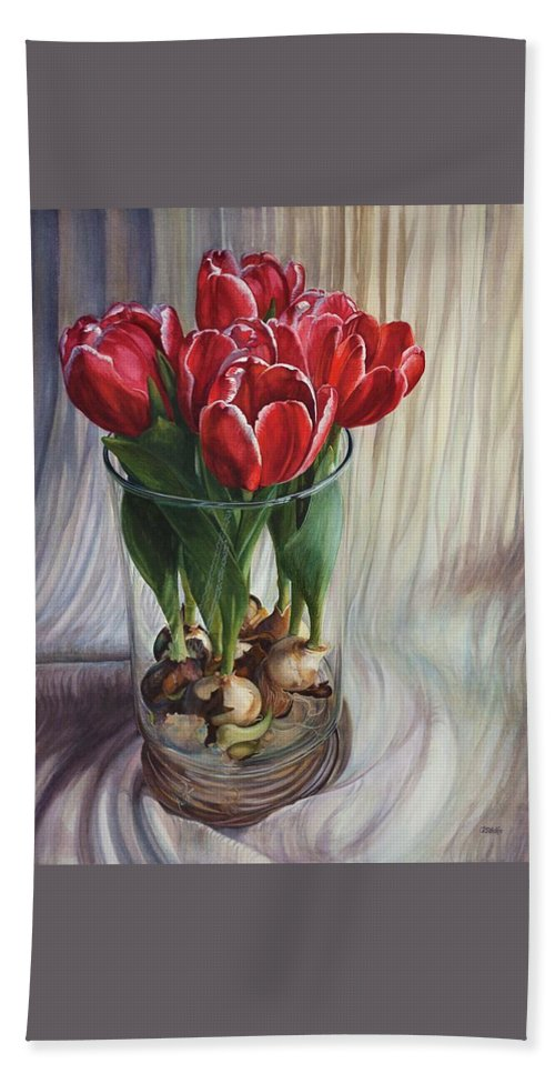 Watercolor Hand Towel featuring the painting White-edged Red Tulips by Rosanne Wolfe