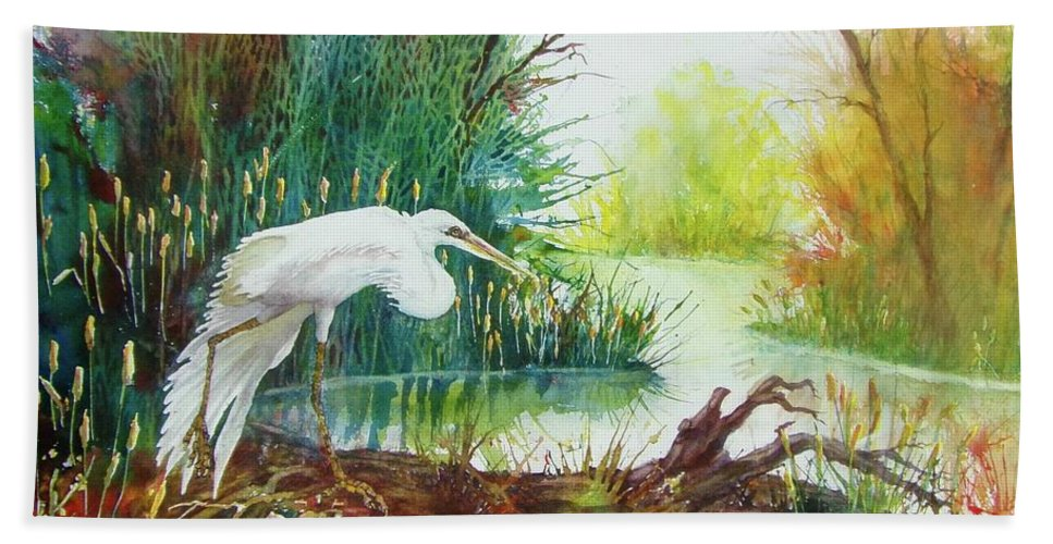 Egret Bath Sheet featuring the painting White Egret Swamp by James Heroux