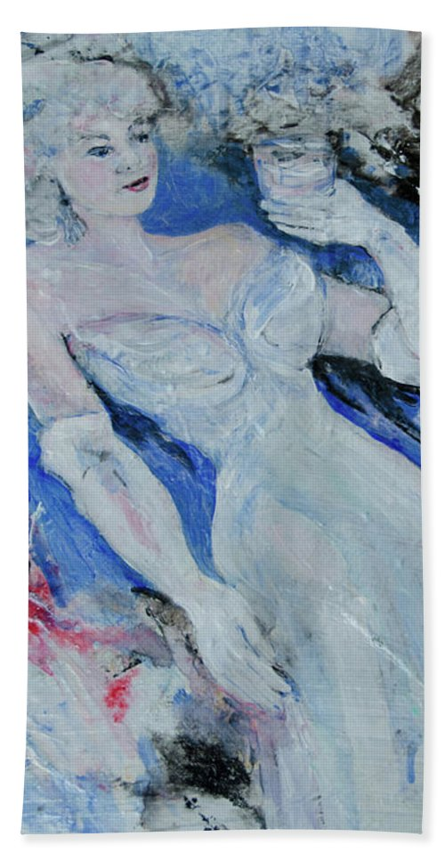 Gown Hand Towel featuring the painting White Gloves by Caren Keyser