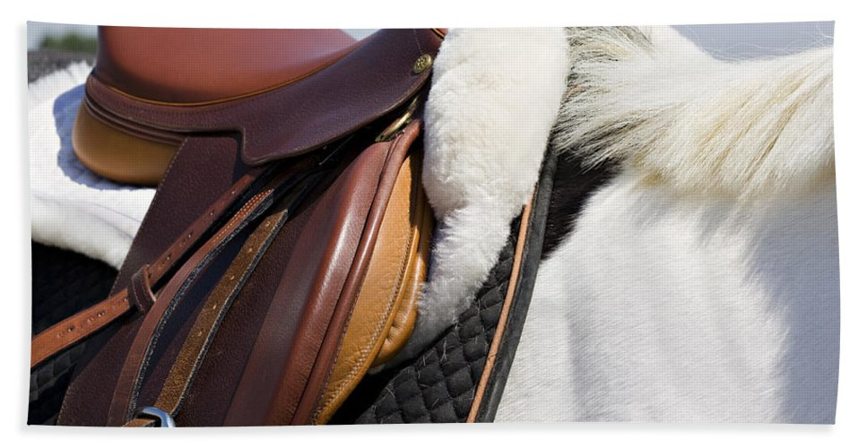 Horse Bath Towel featuring the photograph White Horse And Saddle by Marilyn Hunt