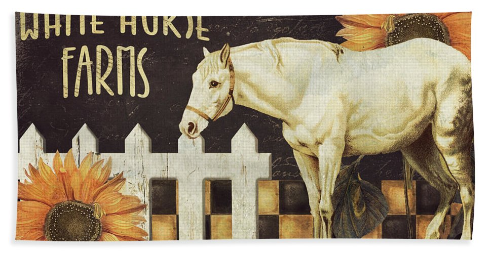 Horse Bath Sheet featuring the painting White Horse Farms Vermont by Mindy Sommers