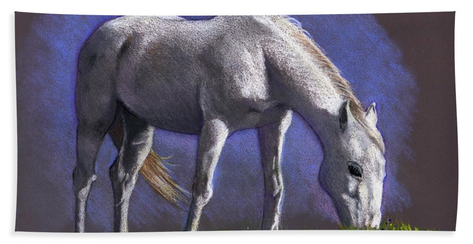 Horse Bath Sheet featuring the drawing White Horse Grazing by Joyce Geleynse