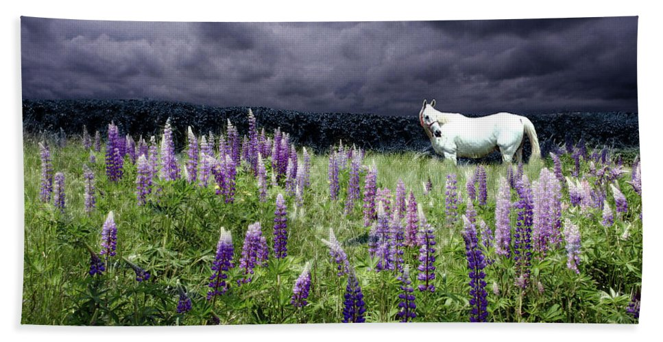 Lupine Hand Towel featuring the photograph White Horse In A Lupine Storm by Wayne King