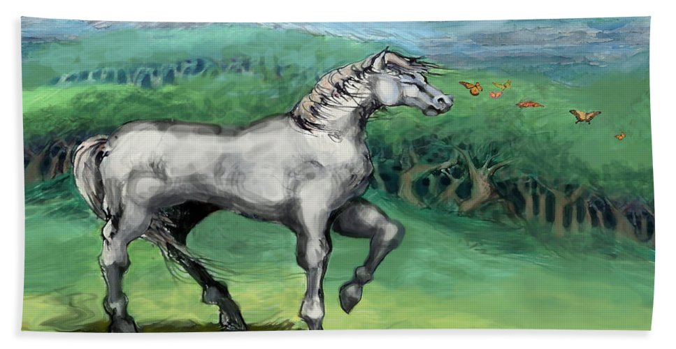 Horse Hand Towel featuring the painting White Horse by Kevin Middleton