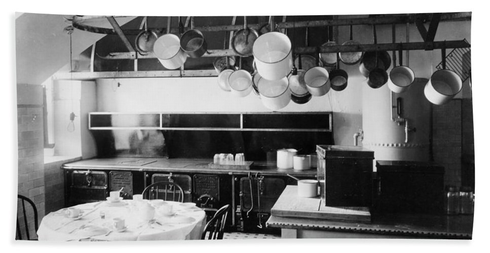 1901 Bath Sheet featuring the photograph White House Kitchen, 1901 by Granger